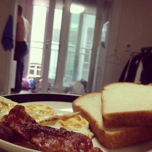 Clint cooking me breakfast.