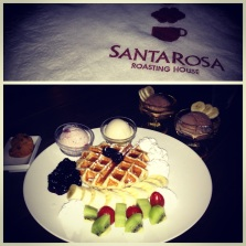 Santarosa's very berry waffles and gelato