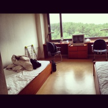 Standard dorm room. They provided slippers!