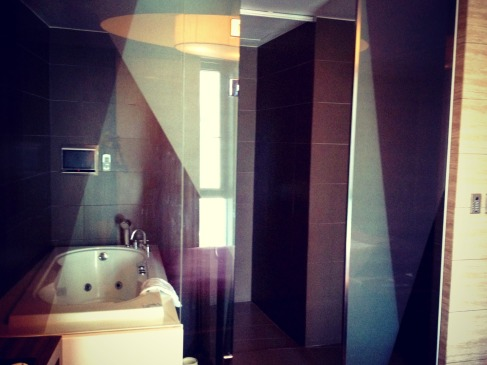 Modern bathroom. — at Tria Hotel