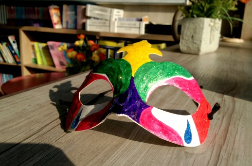 Halloween mask turned out to look more like a Mardi Gras mask. Oops.