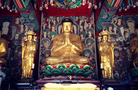 Buddhist statues inside main temple