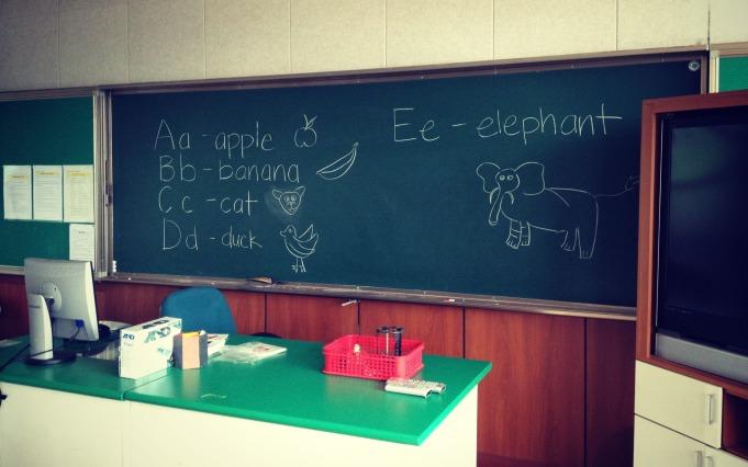 No working computer in class? Old school black board it is!