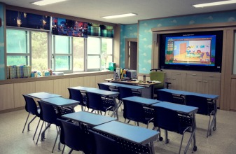 English class equipped with a big screen display