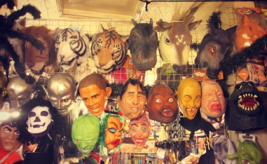 Found the Halloween shop. Some racist masks up in here!
