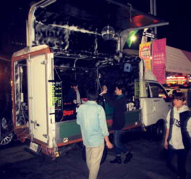 Korea and its alcohol-serving trucks on the streets of Itaewon.