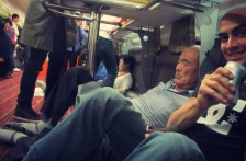 Traveling in luxury, next to a very intoxicated Korean gentleman.