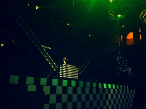 The DJ on stage. All techno, all night.
