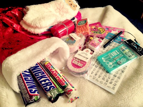 All of my stocking goodies.