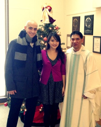 Christmas mass with Father Mario.