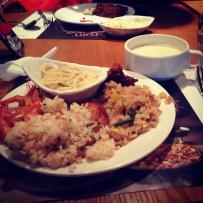 Fried rice, pasta, chicken, prawns, and cream of mushroom soup.