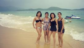 Private beach on resort island in Nha Trang