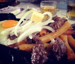 Steak, eggs and macaroni skillet in Bao Loc