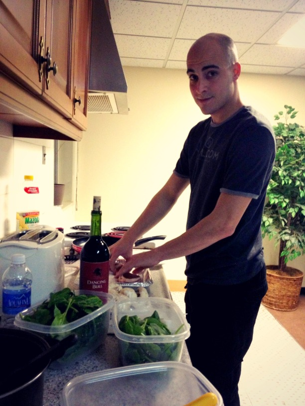 Clint debuting his cooking skills