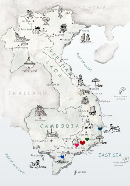 A map of our travels through South Vietnam