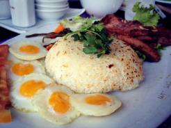 Broken rice, pork chops and quail eggs in Saigon