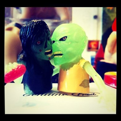 Chronicling the many adventures of horrifically adorable Zombie Kim and Zombie Clint.