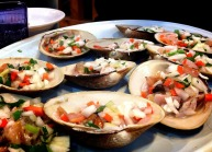 Clams with veggie toppings