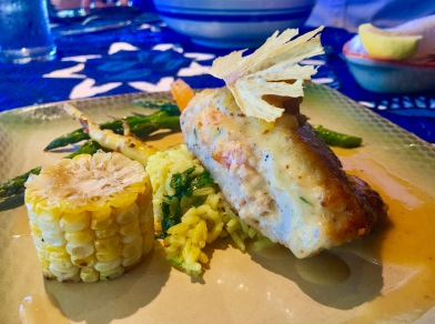 mahimahi stuffed with deep sea red crab and baked in a macadamia nut crust
