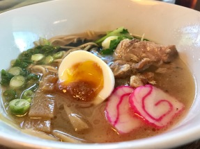 Hapa Ramen – Rich Pork Broth, Roast Pork, Soft Boiled Egg, Choi Sum, Kamaboko, Bamboo Shoots, Mayu, Aka Miso