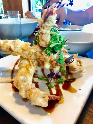 Tempura Shrimp – Colossal Prawns, Faux'nagi Sauce, Garlic Aioli