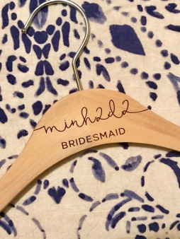 Custom hangers for the bridal team