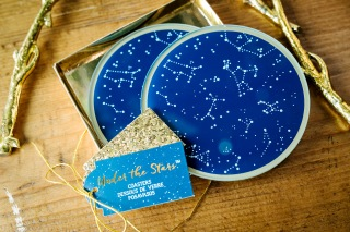Constellation coasters as favors